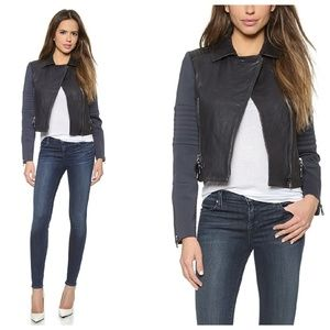 J Brand Aiah Leather Jacket In Navy